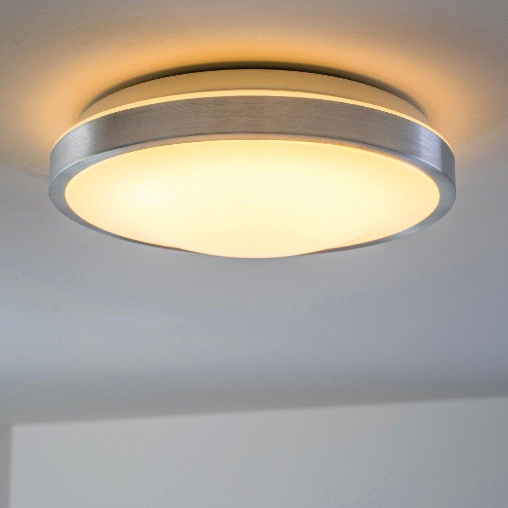 Runde LED Deckenlampe Wutach – LED Deckenleuchte aus Alu+Poly ...
