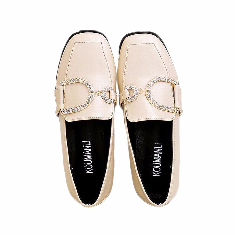 xiao123 Las Mujeres Solo Zapatos con Cabeza Cuadrada con Agua Espesa taladrar Pequeños Zapatos Blancos. La Moda Harajuku Estilo Simples Sandalias Pequeña Trabajos Estudiante ms Confortable 38 EU