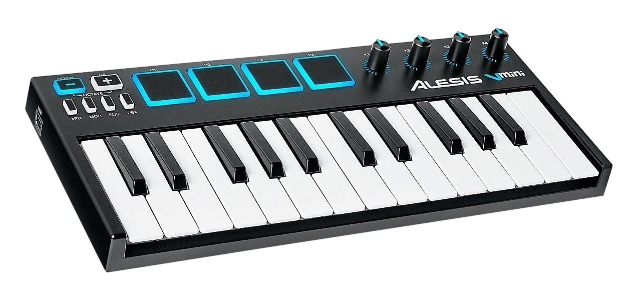 Alesis V Mini | 25 Mini-Key Ultra-Portable USB MIDI Keyboard & Drum Pad Controller (4 Pads/4 Knobs)