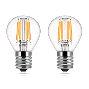 DORESshop E17 Base LED Globe Bulb, 40W Incandescent Equivalent, 4W Mini S11 LED Filament Replacement Bulb, E17 Intermediate Base, Warm White for Home Light Fixtures Decorative, Non-dimmable, 2Pack