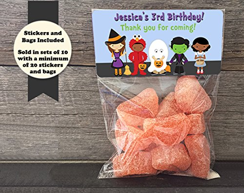 Costume Kids Halloween Personalized Treat Bags and Stickers, Set of 20 -