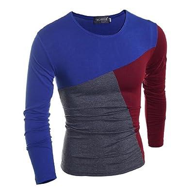 RSunshine Men Splice Color Causal Crewneck Long-Sleeve Tops T-Shirt