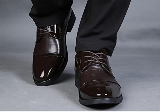 8e7441ef9230b0 wealsex Chaussures de Ville à Lacet Derby Homme Cuir Vernis Bout Pointu  (Noir,43