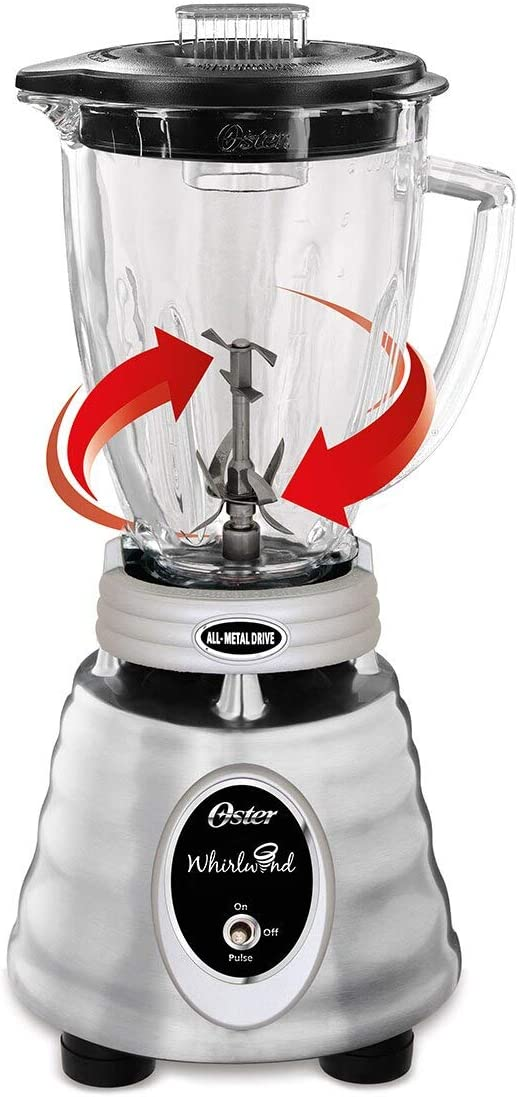 Oster Classic Series Whirlwind Blender with Glass Jar, Brushed Stainless - BPMT02-SS0-000