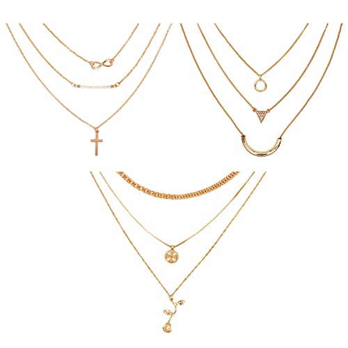 709bd7acd00 3pcs Layered Necklace Chain Alloy Cross Gold Rose Crystal Geometric pattern  Pendant Girls Women Fashion Jewelry