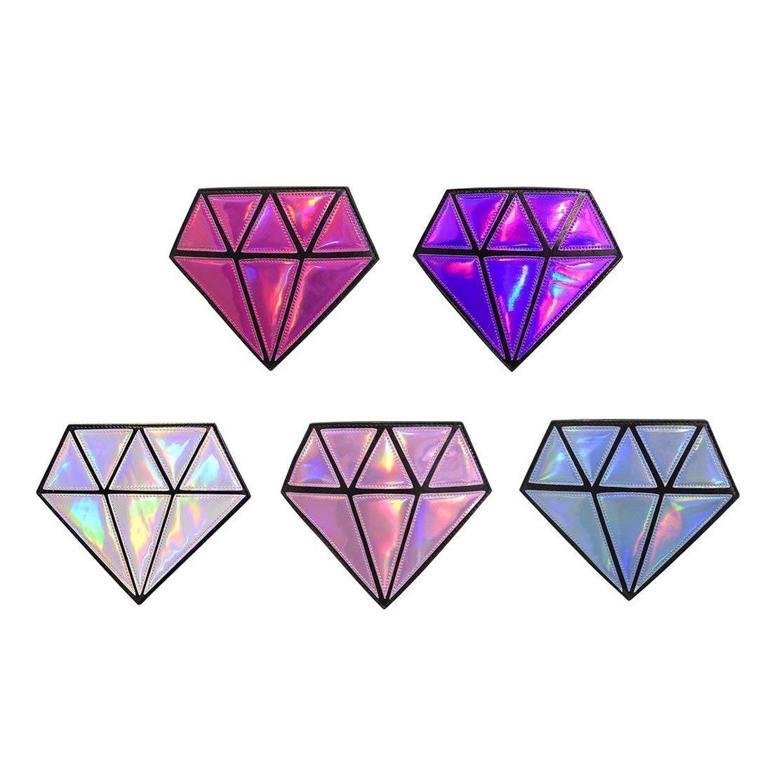 Forma /única de Diamante para Mujer Bolso de Bandolera de Cuero de PU PU Fiesta Linda del Club Nocturno para Mujer Cadena Bandolera Femenina Plata