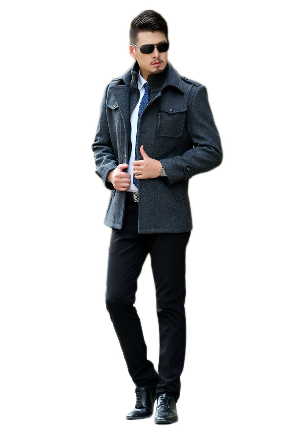 Love Dress Men Winter Wool & Blend Jacket Coat Three Color Blue XXXL