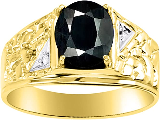 Rylos Mens Emerald /& Diamond Ring Sterling Silver or Yellow Gold Plated Band