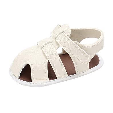c58be18d75cfa Evedaily Bébé Fille Garçon Sandales Bout Fermé Chaussures Premiers Pas Été  en PU Cuir Antidérapantes -