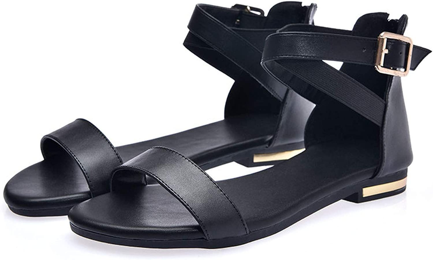 Newest Sandals Women Genuine Leather Shoes Zip Buckle Summer Shoes Casual Shoes,Black,9