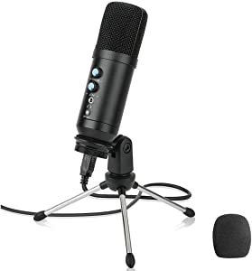 USB Podcast Microphone for Computer Multipurpose,GRyiyi Condenser Microphones for Pc or Mic, PS4, Voice Overs, Recording Streaming and YouTube