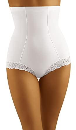 b1d5d5cfd Beautiful White High Waist Control Pants with Lace Edging Large (UK 12)   Amazon.co.uk  Clothing