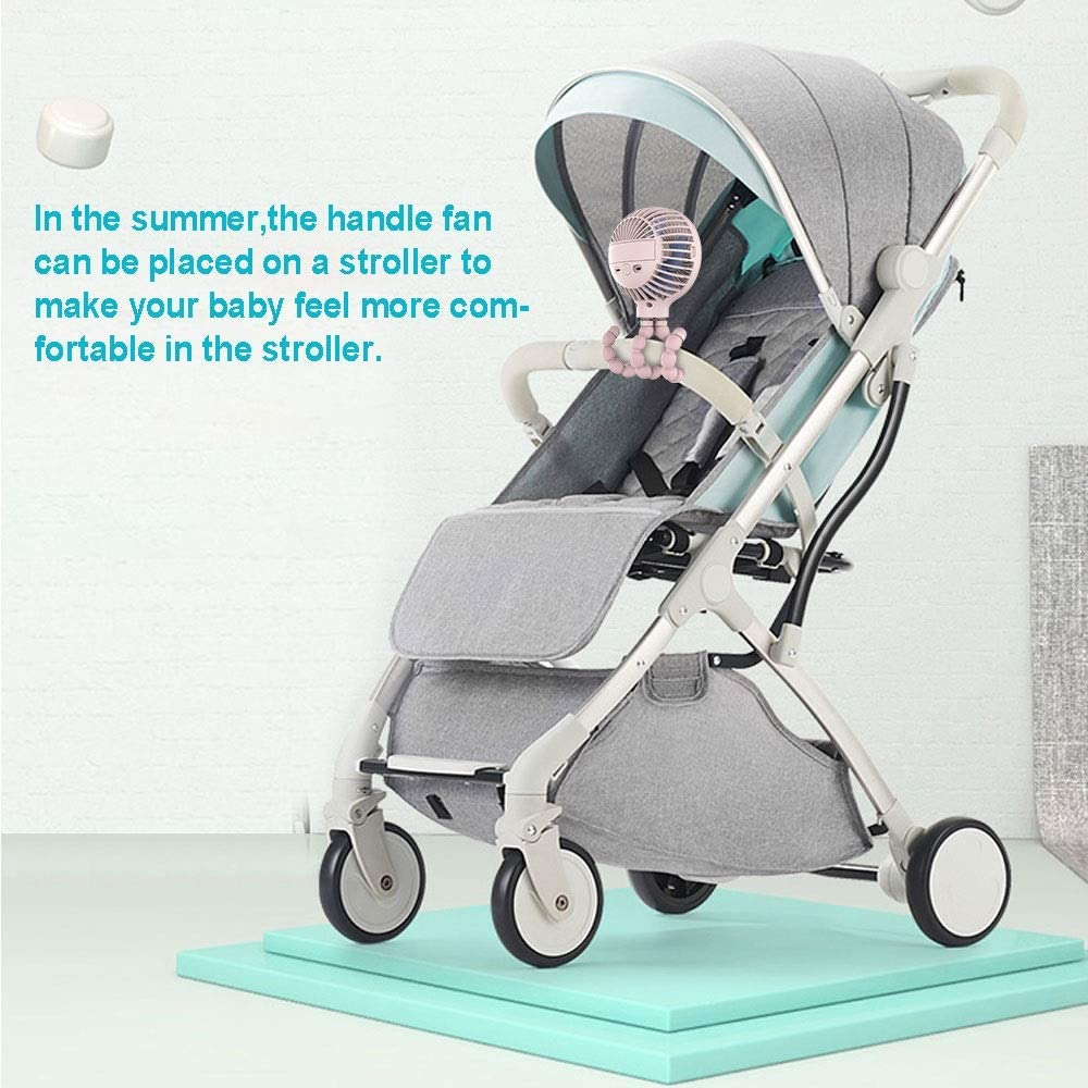 Mini Handheld Stroller Fan Personal Portable Baby Fan USB Or Battery Powered Desk Fan Adjustable 3 Speeds Travel Fan Color : Pink