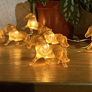 Horse String Lights, Equestrian Themed Night Light Copper Wire 10 Feet 24 LEDs USB Battery Operated with Remote Control for Horse Lover Home Decoration Baby Shower Décor Thanksgiving Garden Wreath