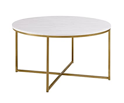 WE Furniture 36u0026quot; Coffee Table X Base   Faux Marble/Gold