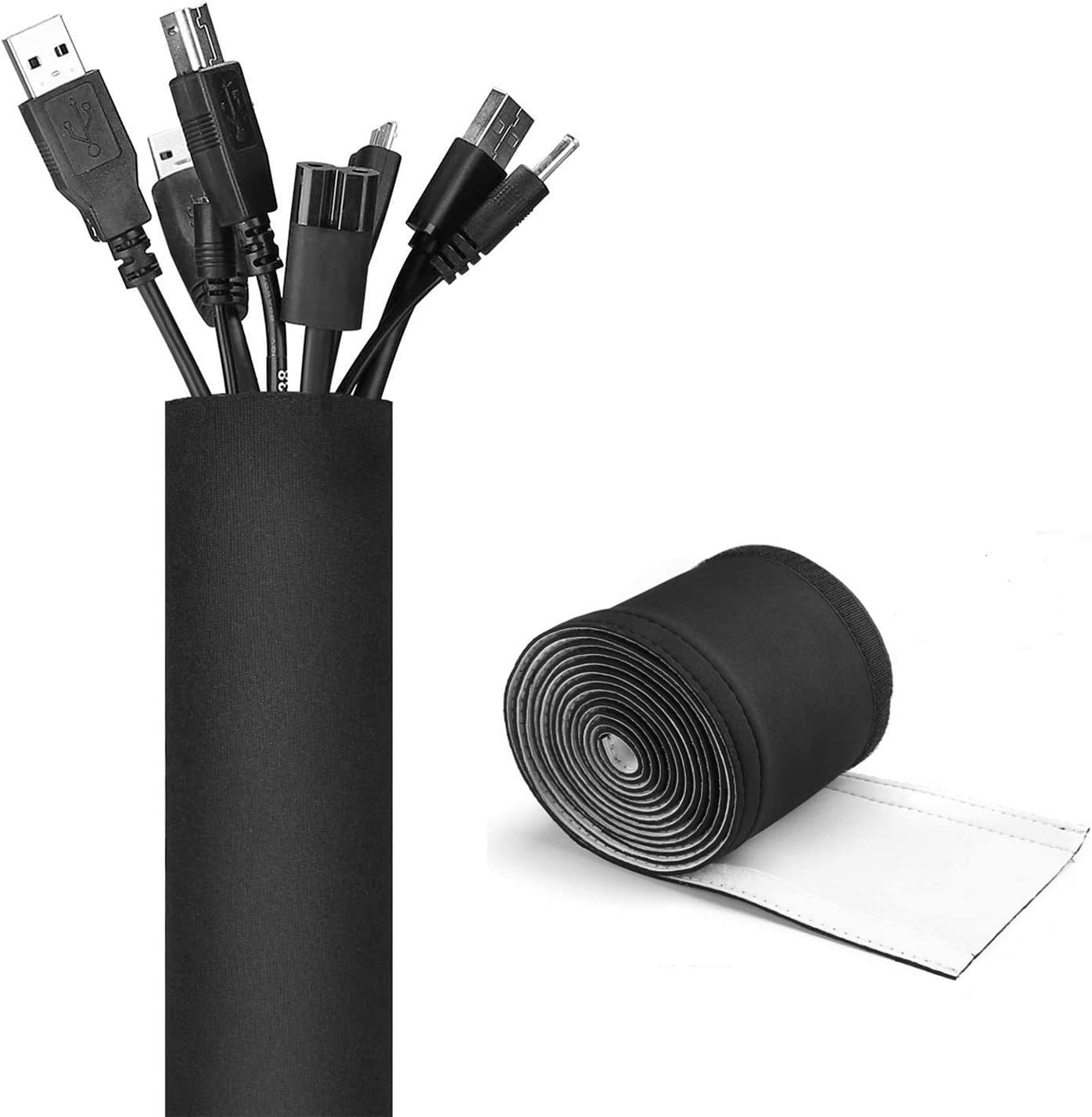 JOTO 10.83ft Cable Management Sleeve, Cuttable Neoprene Cord Management Organizer System, Flexible Cable Wrap Cover Wire Hider for Desk TV Computer Office Home Theater -Reversible Black/White, Large: Home Improvement