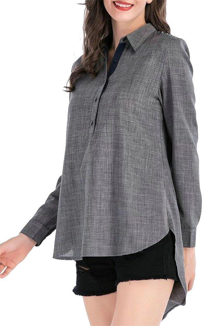 508302bbb Jmwss QD Women Fashion Turn-Down Collar Long Sleeved Stripe Printed Loose  Fit High Low Hem Tops Grey M at Amazon Women's Clothing store: