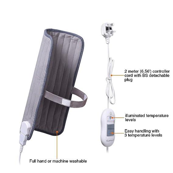 iGuerburn - almohadilla térmica eléctrica para muslo, pantorrilla, pierna y brazo – 100 W – 40 x 30 cm – gris, lavable a máquina, ideal para dolores ...