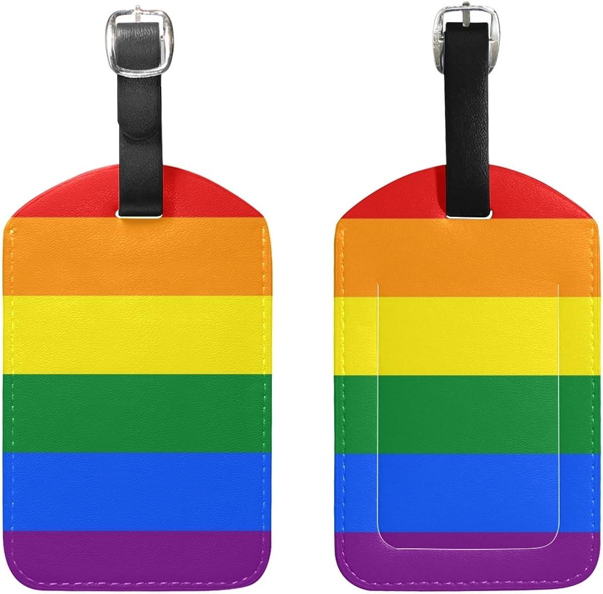Saobao Travel Luggage Tag Rainbow And Unicorn PU Leather Baggage Suitcase Travel ID Bag Tag 1Pcs