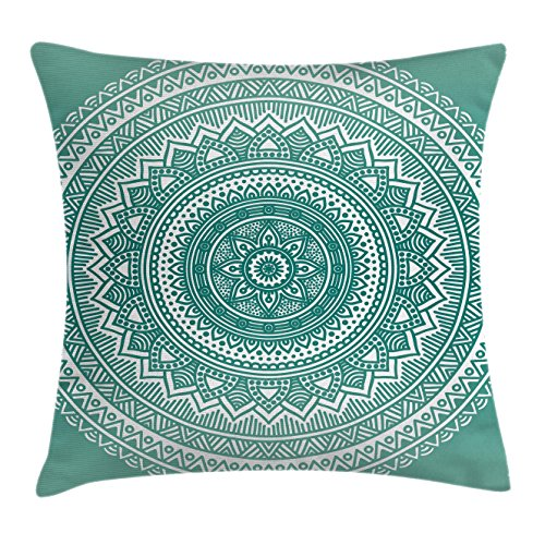 Ambesonne Teal Ombre Throw Pillow Cushion Cover, Mandala Pattern Boho Style Floral Dots and Stripes with Petals Print, Decorative Square Accent Pillow Case, 24