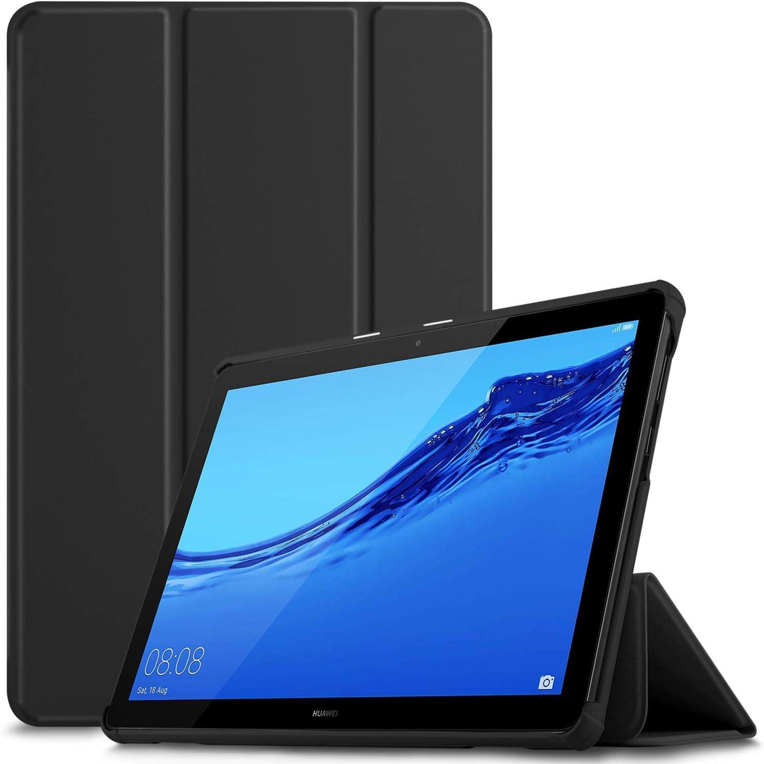 IVSO Funda Carcasa para Huawei MediaPad T5 10, Slim PU Protectora Carcasa Cover para Huawei MediaPad T5 10 10.1 Pulgadas 2018, Black