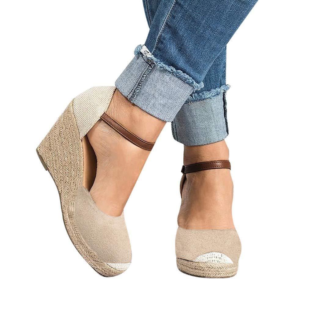 Womens Wedges Sandals - Casual Closed Toe Espadrilles Platform High Heel Sandals Ankle Strap Buckle Sandals Shoes Size 5-9 (Beige, US:6.5)