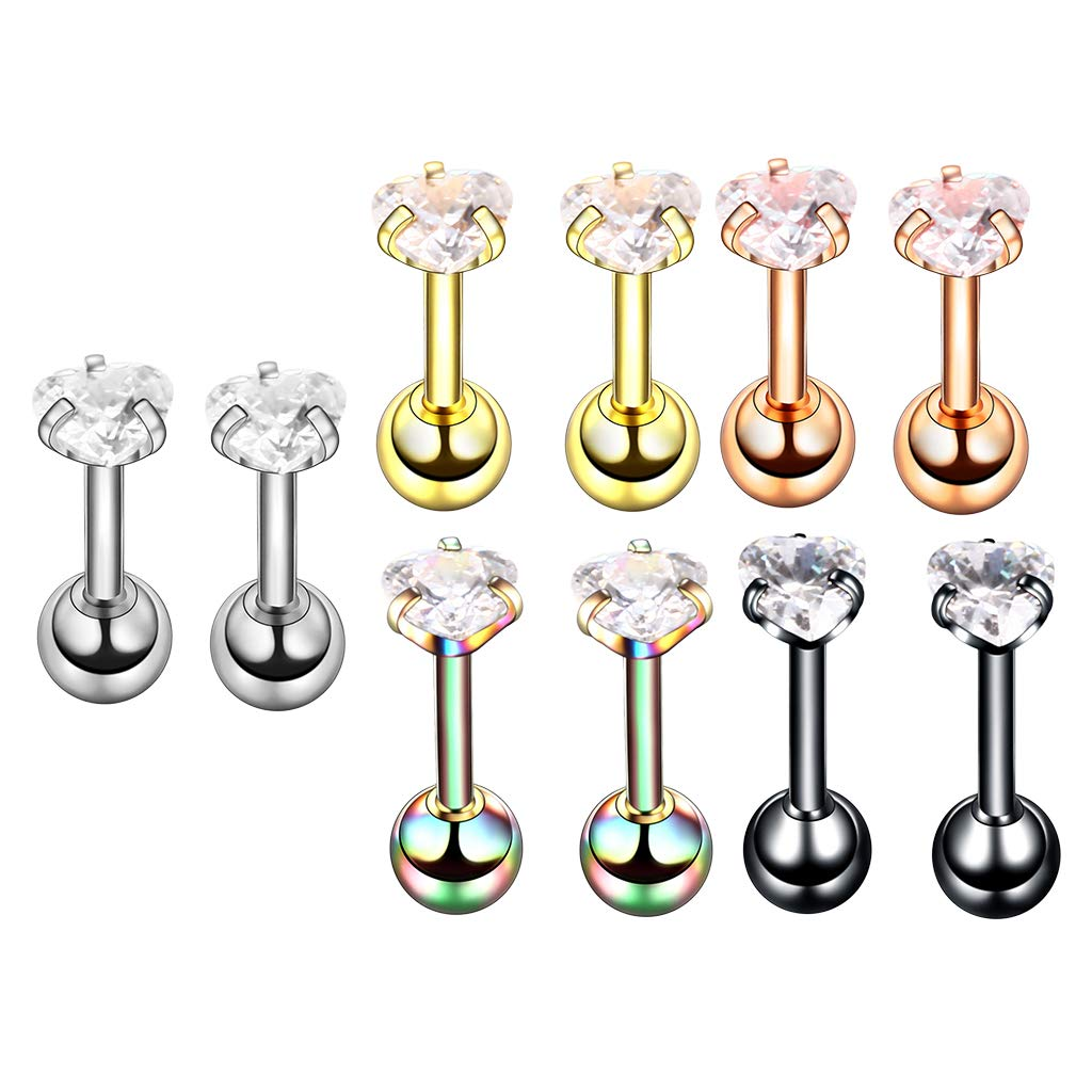 Fityle 10 Pieces Tragus Earrings Barbell Helix Lip Nose Stud Body Jewelry Piercing 16g