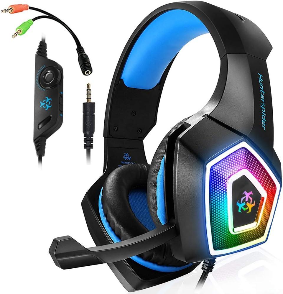 Amazon Com Gaming Headset With Mic Led Light On Ear Gaming Headphone Ps4 3 5mm Wired Gaming Headset For Pc Mac Laptop Gamer Headphone Blue Electronics