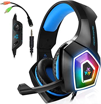 Amazon Com Gaming Headset With Mic Led Light On Ear Gaming Headphone Ps4 3 5mm Wired Gaming Headset For Pc Mac Laptop Gamer Headphone Blue Electronics