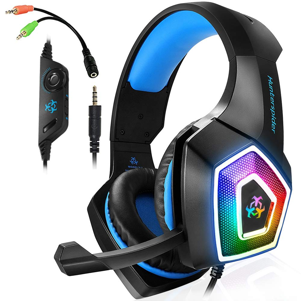 Xbox One Gaming Headset for PS4,PC,LED Light On Ear Headphone with Mic for Mac,Laptop,Nintendo Switch Games (Blue) by AIBOONDEE