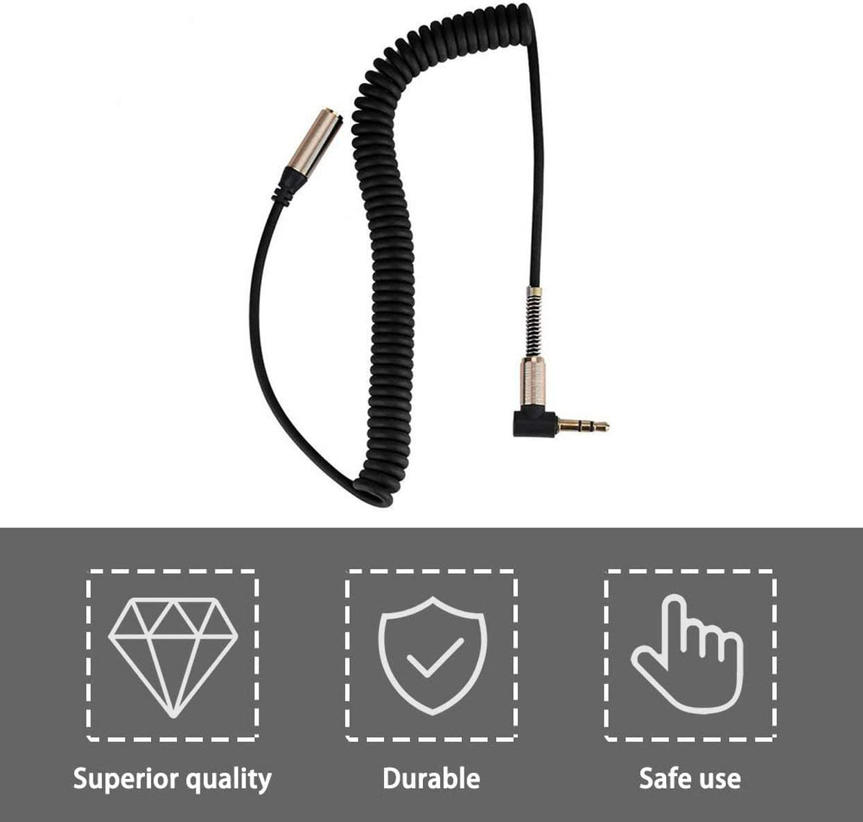 Detectorcatty 3.5mm Jack Male to Female Cable Earphone Headphone Audio Extension Cable Extendable Flexible Spring Cord Portable Audio Cable