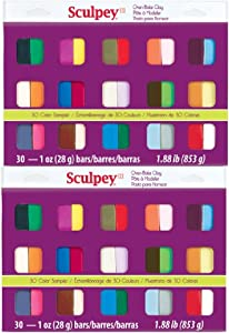 Sculpey III Oven Bake Clay Sampler 1oz, 30/pkg (Pack of 2)