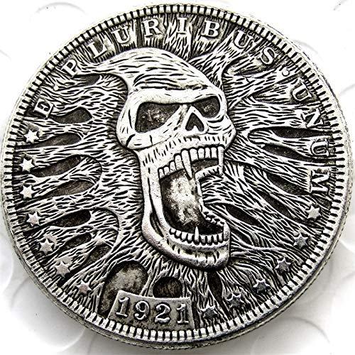suiwoyoujooact HB(36) US Hobo 1921 Morgan Dollar Skull Zombie Skeleton Creative Coin hobo Keychain Pendant