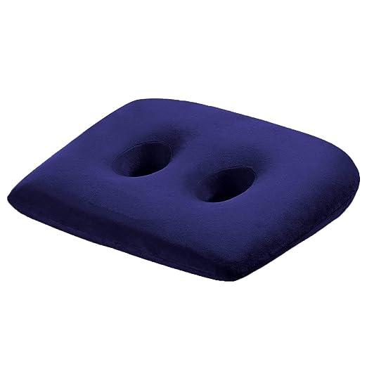 Cojín silla,WER asiento cojín de espuma viscoelástica de coche/cojín oficina/ cojín ergonomico,deseño mejorado con dos agujeros para alivio de dolores ...