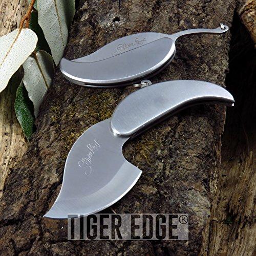Portable Tactical Folding Pocket Knife Silver Leaf Keychain