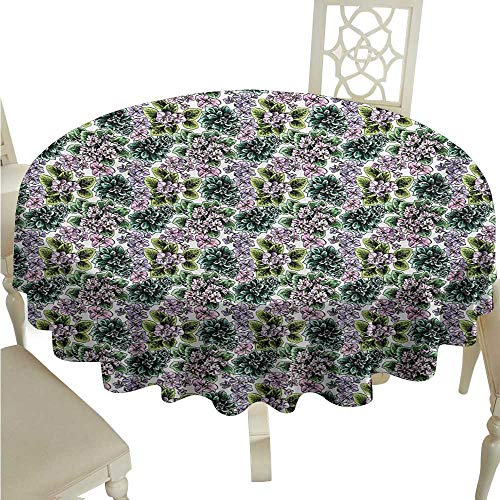 Flowering African Violet (longbuyer Round Tablecloth Floral,Flowering Plants Gardening African Violet Peonies Hydrangea Foliage Illustration,Multicolor D54,for 24 inch Table)