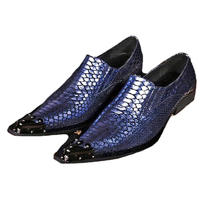 Blue Fashion Real Leather Mens Dress Slip On Loafers Steel Toe Shoes