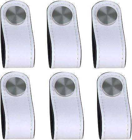 caj/ón Piel de Granos 16,5 x 2,5 cm Tiradores de Cuero Blanco // 4 piezas armario tiradores para Accesorio de Mobilario 3 tornillos de color puerta