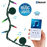 Bright Tunes Decorative String Lights Bluetooth Speakers, Traditional Tip 5-Color Incandescent, Green Cord