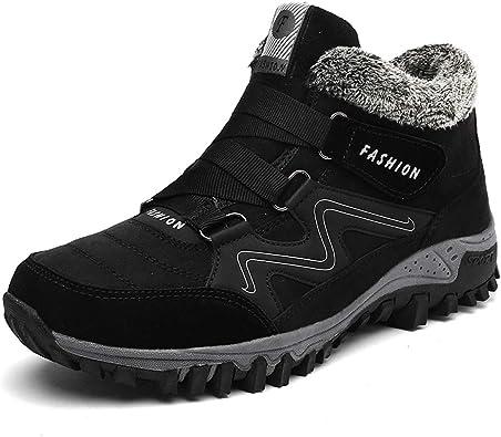 Hombre Botas de Nieve Senderismo Impermeables Antideslizante Botas de montaña Zapatillas de Senderismo Trekking Otoño Invierno Botines Zapatos Cortas Fur Aire Libre Boots: Amazon.es: Zapatos y complementos