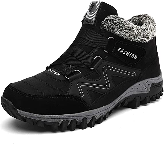 Mens Sneakers Winter Warm Fur Lined Climbing Ankle Boots Hiking Snow Warm Shoes