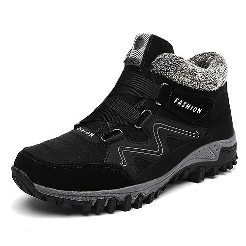 Hombre Botas de Nieve Senderismo Impermeables Antideslizante Botas de montaña Zapatillas de Senderismo Trekking Otoño Invierno Botines Zapatos Cortas Fur ...