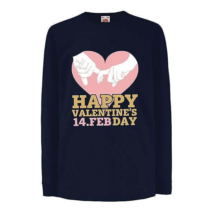 Maniche Lunghe Shirt Con San Valentino Bambini Cuori14 T Buon yvf7g6Yb