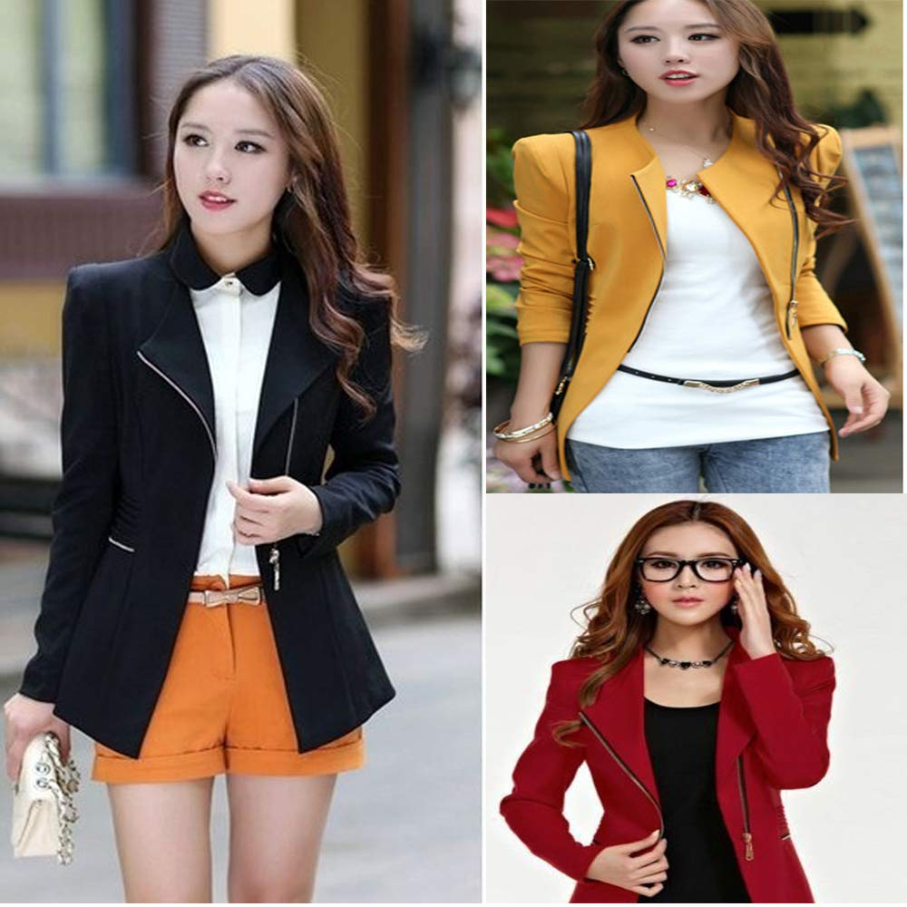 donne zipper Blazer tuta oblique zipper Slim Fit manica lunga Lady formale Outwear giacca con tasche giallo yellow XL