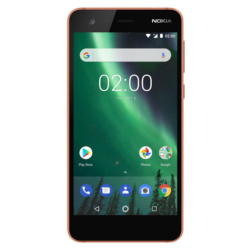 Nokia 2 - Android - 8GB - Single SIM Unlocked Smartphone (AT&T/T-Mobile/MetroPCS/Cricket/H2O) - 5'' Screen - Copper - U.S. Warranty