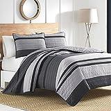 Nautica 217146 Vessey Cotton Pieced Quilt, Twin, Gray