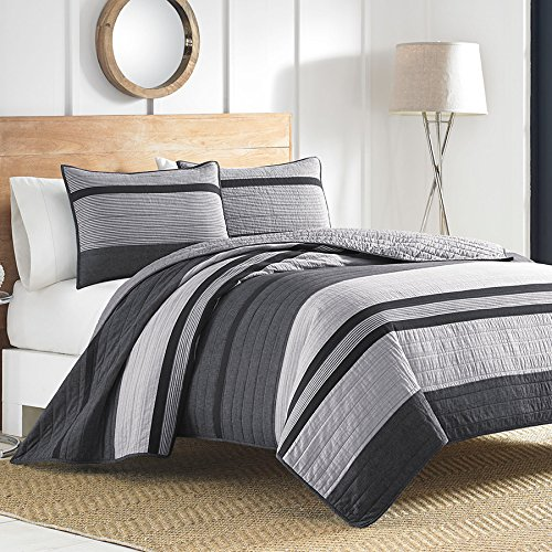 Nautica Vessey Cotton Pieced Quilt, Twin, Gray