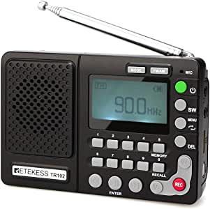 Retekess TR102 Shortwave Radio Portable AM FM Radio MP3 Player Support TF Card Digital Record Sleep Timer and Rechargeable Battery(Black)