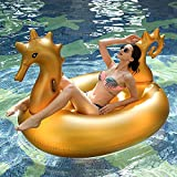 JCNS Golden Sea Horse Swimming Pool Floats, 9ft Giant Luxury Inflatable Raft, Cool Summer Pool Party Inflatable Floats