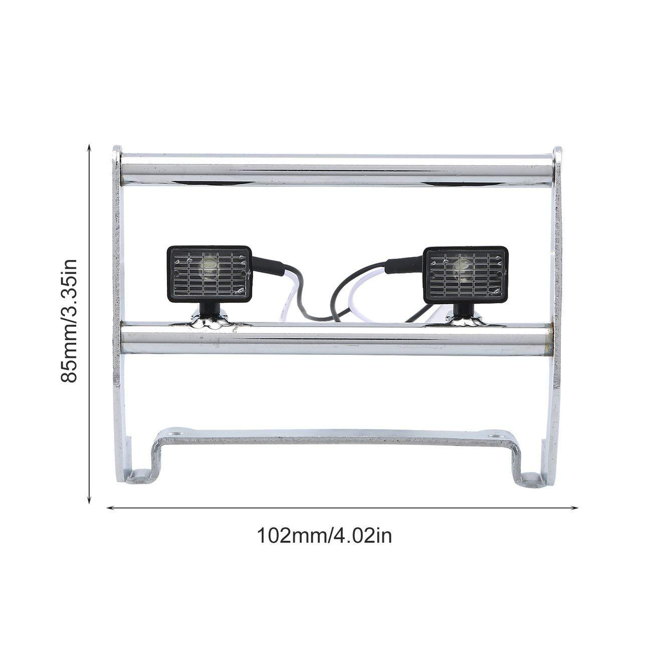 MachinYesity Paraurti in Acciaio Inossidabile Accessori per stampi per Veicoli Giocattoli Modello Paraurti con Buggy con luci per TRAXXAS TRX-4 Rock 1//10 RC Truck Argento